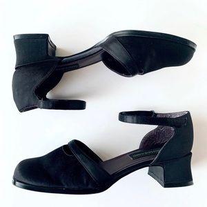 New Vintage Unlisted black satin ankle strap shoes